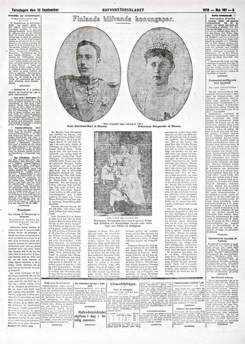 FINLANDS BLIFVANDE KONUNGAPAR_HUFVUDSTADSBLADET_167_ 12.9.1918